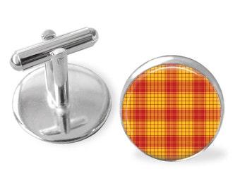 MACMILLAN TARTAN CUFFLINKS / Scottish Tartan Cuff Links / Tartan Jewelry / Personalized Gift  / Ancestral Jewelry / MacMillan  Clan Plaid