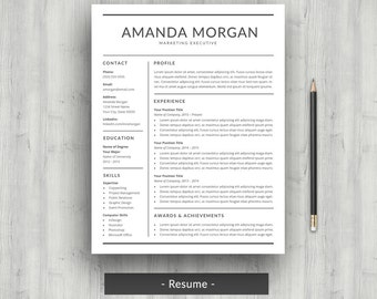 Resume Template | CV Template For Word | Professional Resume Design |  Modern Resume With Cover