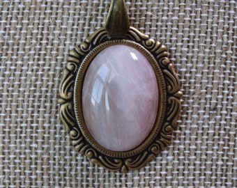 Rose Quartz oval cabochon pendant on bronze chain