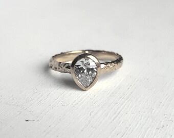 Rustic White Gold Moissanite Engagement Ring - Organic Textured Band - Teardrop Gemstone - Pear Bezel