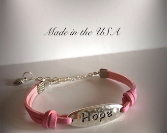 Hope bracelet,leather bracelet,jewelry,women's jewelry,best friend gift,gift for her,awareness gift,bff gift,hope charm