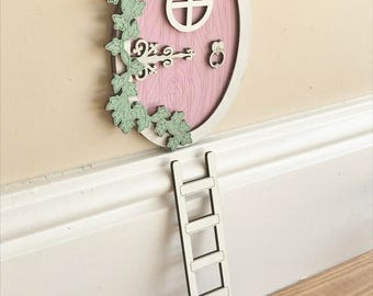 Pink Oval Fairy Door With Ivy & Ladder, Girls Bedroom Decor, Fairies Ornament Gift, Magical Accessories