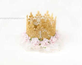 Pink First Birthday Crown Girl - Lace - Birthday Crown - Gold - Headband - Photo Prop - Mini - Bling - Cake Smash - 1st - Tiara - Hat - Pink