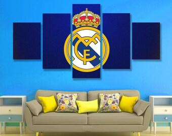 Real Madrid Poster set Real Madrid Wall Art Ronaldo Canvas Art Wall Decor, 5 pieces set, Birthday Gift, Home Decoration, kids room, bedroom