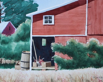 Red Barn with Rakes