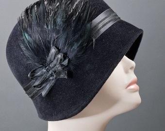 Women's Cloche Hat,  Vintage Inspired, 1920'sHat,  Black Cloche Hat,  Kentucky Derby Hat