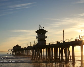 Sunset At The Pier - Huntington Beach Photo, Surf City California, beach decor, fine art photo