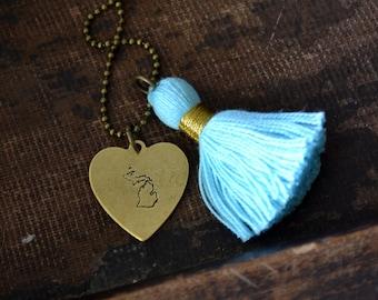 I Love Michigan Necklac - eMichigan Tassel Necklace - Hand Stamped Necklace - Cotton Tassel Necklace - Great Lakes Jewelry - Michigan Home