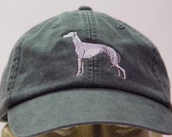 GREYHOUND DOG Hat - One Embroidered Men Women Cap - Price Embroidery Apparel - 24 Color Caps Available