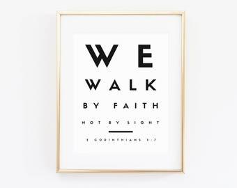 Walk by faith not by sight, walk by faith gifts, modern christian art, 2 Corinthians 5:7 | Christian Wall Art