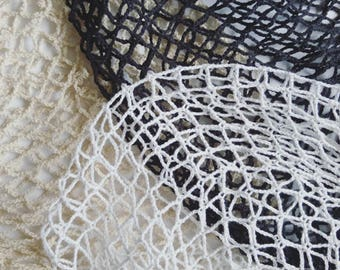 100% Cotton French String Market Mesh Net Bag - Three Pack