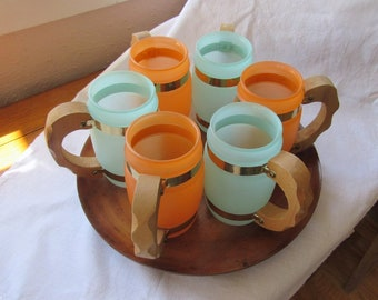 6 Siesta Ware Beer Mugs On A Wood Tray,  Frosted Orange and Turquoise