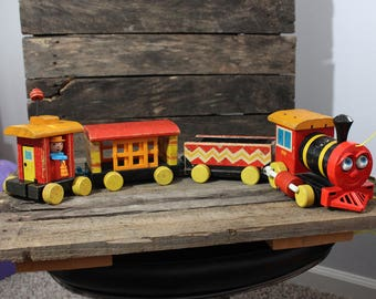 Vintage Fisher Price Huffy Puffy 4-Car Train, 1958-1962 Fisher Price Huffy Puffy Pull Toy Train