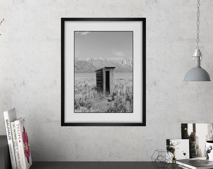 Bathroom Wall Art / Funny Bathroom Print / Powder Room Decor / Rustic Style / Modern Farmhouse Decor / Framed Wall Art / Outhouse Photo