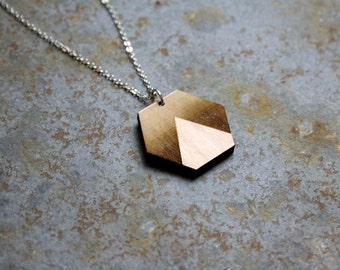 Wooden Necklace, minimal geometric pendant, wood hexagon shape with triangle engraved, sunset landscape jewelry, jewel made in France, Paris