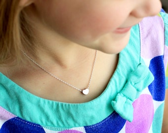Children's Heart Necklace - Flower Girl Necklace, Childrens Heart Necklace, Gift for Kids, Child Flower Girl Gift Flower Girl Jewelry, Mini