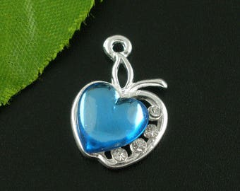 Charm Apple rhinestone blue 20x13mm heart Tibetan Silver Pendant