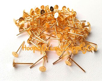 50 pcs. Gold or Silver Toned Earring Posts w/ 4mm Pad- FAST SHIPPING from USA with Tracking for Domestic Buyers