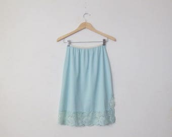 Vintage '50s/'60s Simple Powder Blue Half Slip, Lace Trimmed, Side Slit, Small