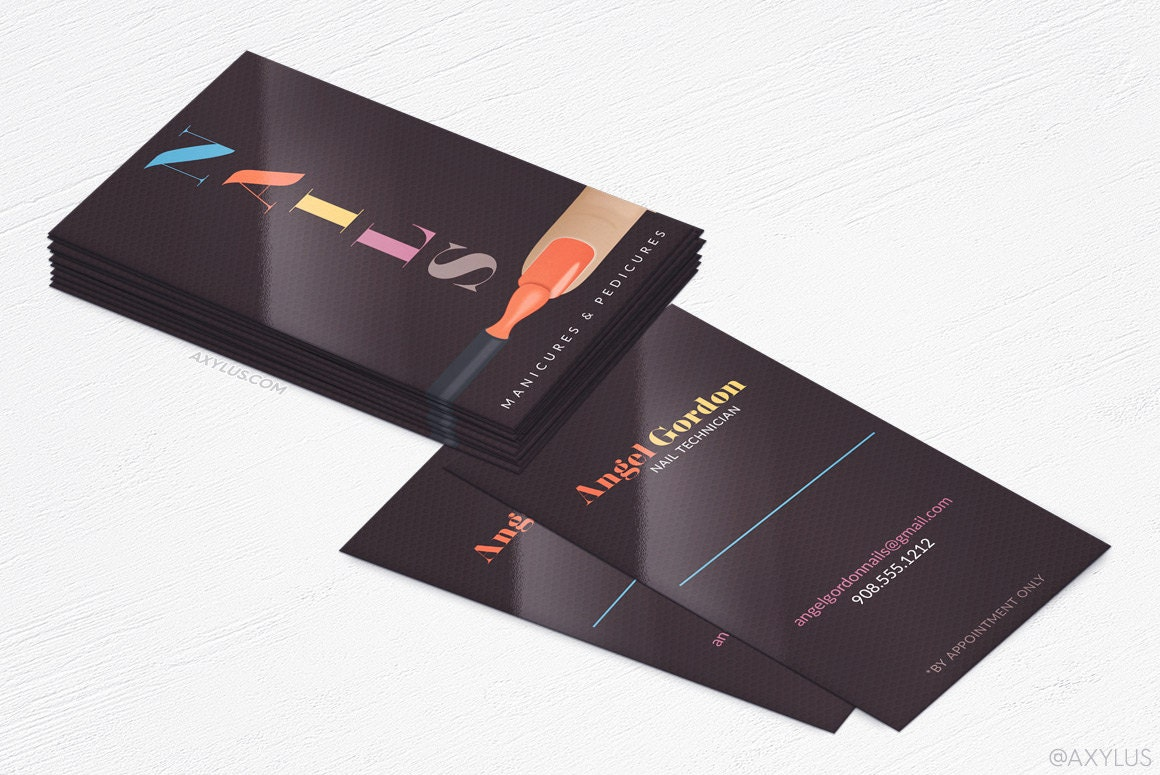 Nail Tech Business Cards - Salon - Design and Printing - 16PT UV - 250, 500, 1000, 2500   FREE Shipping  