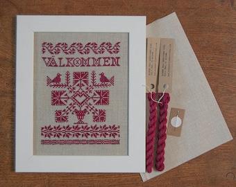 Välkommen - A Swedish Welcome Sampler - Instant Download PDF cross-stitch pattern