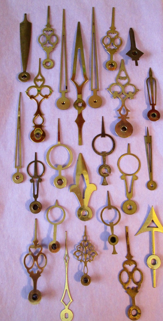 24 Assorted Old Solid Brass Clock Hands - for your Clock Projects, Jewelry Making, Steampunk Art  Etc...