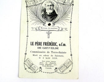 Antique 1926 Le Pere Frederic Holy Relic Card,1920s Vintage Blessed Frédéric Janssoone O.F.M. Relic Card, Blessed Frederic of Ghyvelde