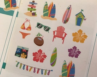 Summer Stickers, Fits Erin Condren Life Planner, Stickers, Filofax And Other Planners, Surf Stickers, Surf Board, Vacation Stickers