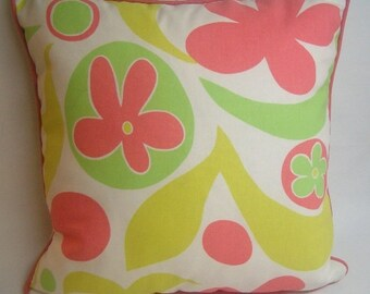 """Corded decorative pillow, 20"""" square, large print, citrine, lime green, coral, white"""
