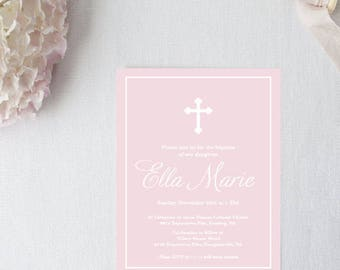 Pink Baptism Invitation - 5x7 Christening Invitations - Printed or Printable - Free Shipping