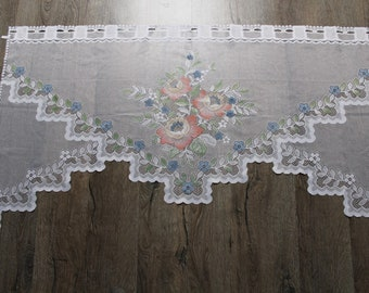 French curtains.Country curtain.Shabby chic.Window decor.Curtain with lace.Window valance.Vintage curtain.Vintage valance.Cafe curtain.