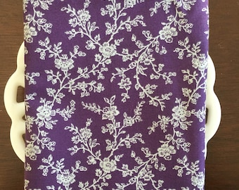 Purple and Grey Floral Cloth Napkin