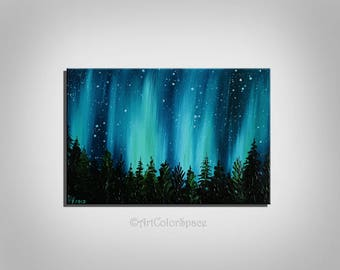 Small Galaxy painting Valentines Day Night sky Northern lights painting Landscape painting Aurora borealis Oil painting on canvas Home decor