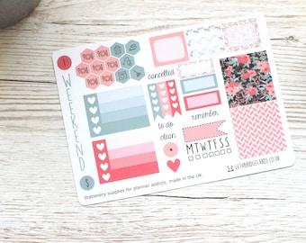 Coral Flower Mini Happy Planner Weekly Kit; Mini Kit; Functional Stickers; Vinyl Matt; Planner Stickers; Summer Kit; Flower Kit; Filofax