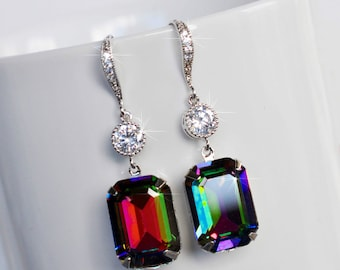 Handmade Swarovski Vitrial Green Emerald Cut Crystal & CZ Dangle Bridal Earrings, Bridal, Wedding (Sparkle-2524)