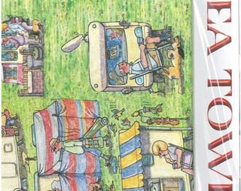 TEA TOWEL - Caravan Site Cartoon Tea Towel by Armand Foster