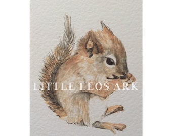 Baby animal/ baby red squirrel/ whimsical woodland nursery/ watercolour/ watercolor painting/ print/ wall art/ kids decor