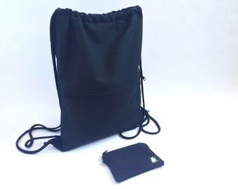 Mochila, mochila saco, mochila joven, regalo joven, negra, regalo chico, negro, bolsa playa, bolsa gimnasio, monedero, cordón, hombre