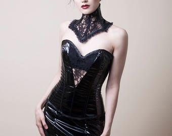 Black PVC & Lace Bustier-Xtra Large (Sale)
