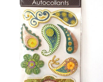 3D scrapbooking stickers. 3D decorative stickers. Paisley and flower. Three dimensional . multicolor green stickers.