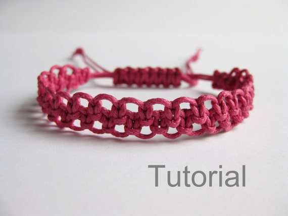 pattern bracelet macrame pdf tutorial pink knotted adjustable. Black Bedroom Furniture Sets. Home Design Ideas