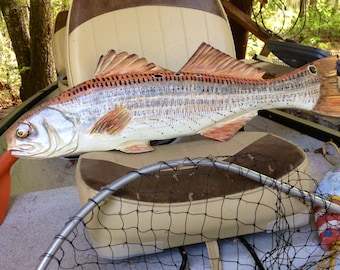 "Redfish 30"" chainsaw carved saltwater gamefish wood sculpture spottail bass decoration realistic Red Drum taxidermy indoor/ outdoor wall art"