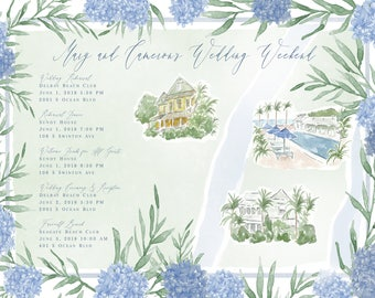 Custom Watercolor Map for Weddings and Events