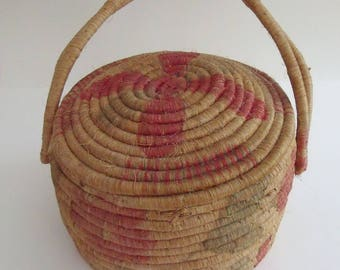 Vintage Round Jute Knitting Basket with Lid Printed Design, Great Knitting or Crochet Basket, Cottage Chic, Farmhouse Style, 10 in. dia.