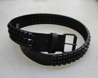 "1-3/4"" (45mm) wide Genuine Leather Belt with 3 rows 1/2"" (13 mm) PY-77 Pyramid Square Studs Black/Matte Studded Spiked Made in U.S.A. NYC"