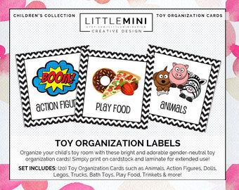 Toy Organization Cards | 20-card set | Gender Neutral | Instant Download!