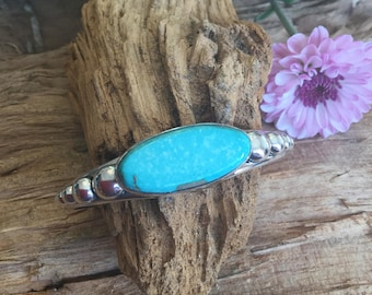 Royston Turquoise Stacker Cuff Bracelet/Sterling Silver/ Artisan Handmade/ BohoChic Jewelry/ Southwestern/ 5 1/2""