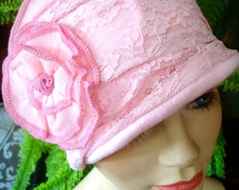 Womens hat chemo hat pink winter hat lace chemotherapy headwear