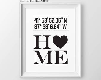 Custom Latitude Longitude Print Personalized House Coordinate Print Gift For Couple Anniversary Gift for Couple Housewarming Gift for Couple