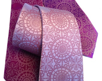 3 wedding neckties. Groomsmen group discount, matching ties, same design. Silkscreened microfiber.